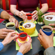 Friends sitting at table with cups of coffee and cappuccino - PhotoDune Item for Sale