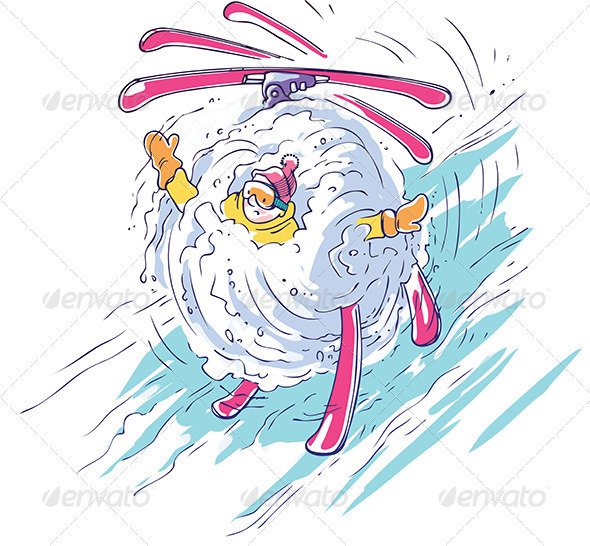 Skier in a Snowball - Sports/Activity Conceptual