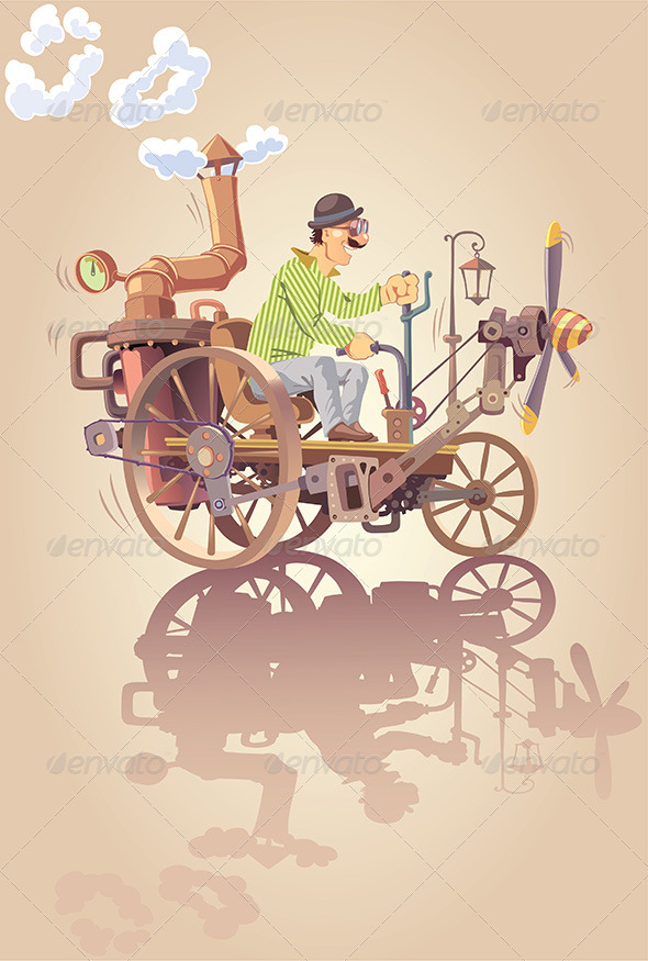 Inventor and his Steam Car - People Characters