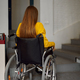 Disabled female student in wheelchair at stairs - PhotoDune Item for Sale