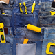 Kit of construction tool in jeans pocket background texture. House renovation concept - PhotoDune Item for Sale