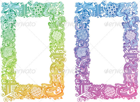 Calligraphic Floral Border  - Borders Decorative