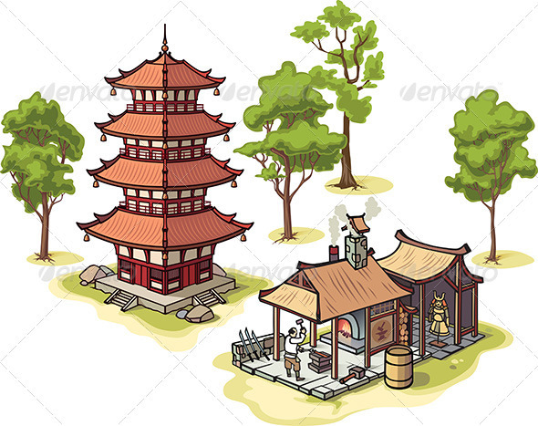 Japanese Pagoda and Medieval Blacksmith  - Buildings Objects