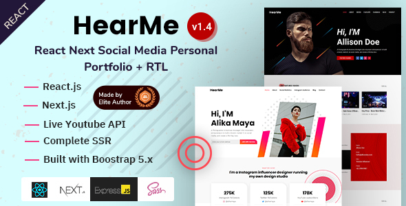 HearMe - React Next Social Media Personal Portfolio Template