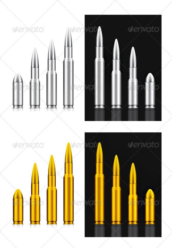 Vector Bullets Set. - Objects Vectors