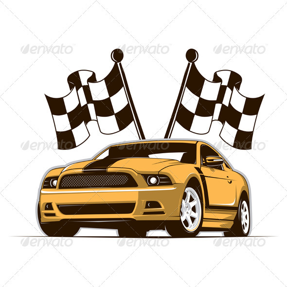 Race Car And Flags  - Sports/Activity Conceptual