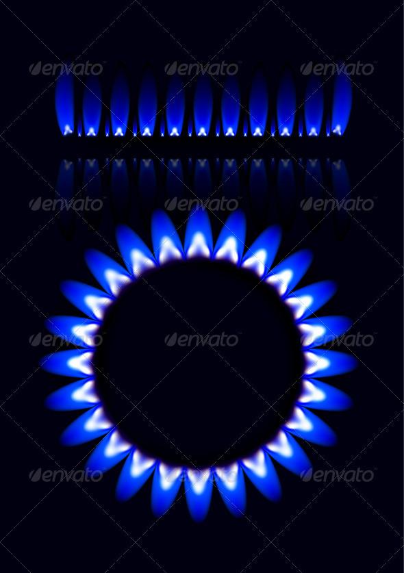 Natural Gas Flame Vector Set - Abstract Conceptual