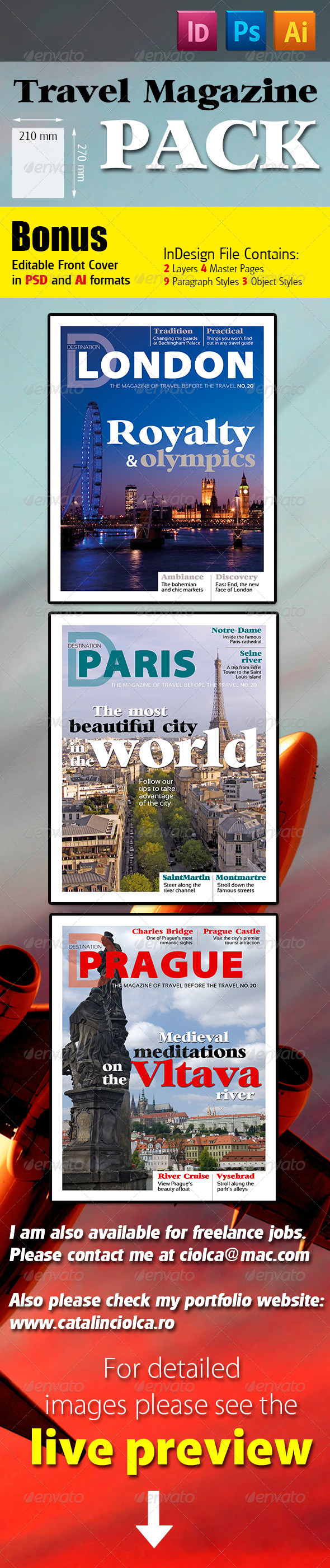 Travel Magazine Pack - Magazines Print Templates