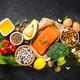 Healthy vegan food at black background top view - PhotoDune Item for Sale