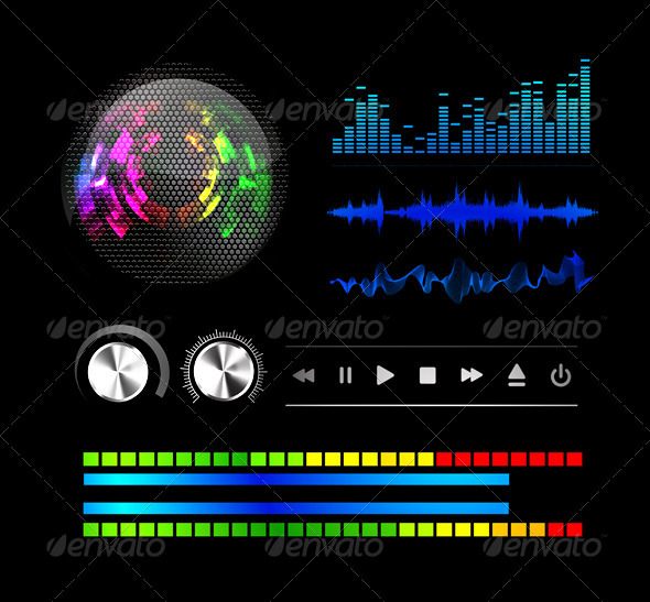 Sound Waves Set Music. Vector Illustration - Abstract Conceptual