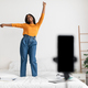 African American Blogger Lady Making Video On Phone At Home - PhotoDune Item for Sale