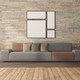 Minimalist living room with sofa against stone wall - PhotoDune Item for Sale