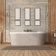 Elegant bathroom with bathtub against stone wall - PhotoDune Item for Sale