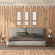 Modern bedroom with double bed against wooden panel - PhotoDune Item for Sale