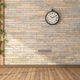 Empty room with climbing plants,wooden panel and stone wall - PhotoDune Item for Sale