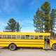 School bus parked at the side of a country road, South Dakota, USA. - PhotoDune Item for Sale