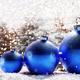 Glitter blue Christmas balls on snow - PhotoDune Item for Sale