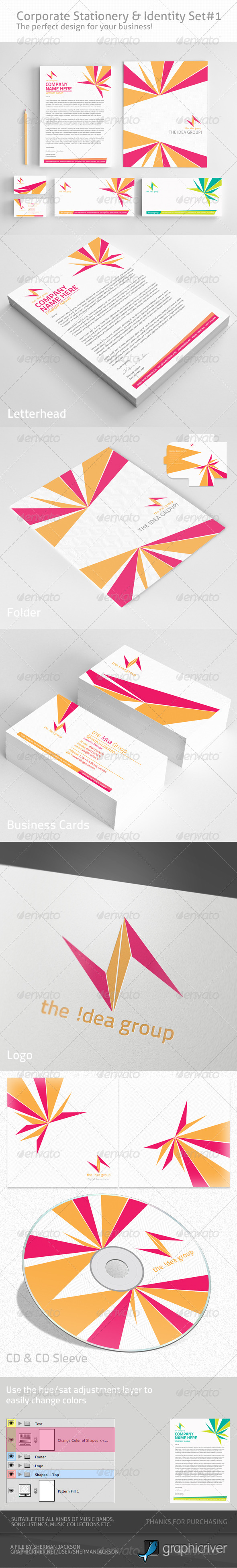 Corporate Identity & Stationery Set#1 (PSD) - Stationery Print Templates
