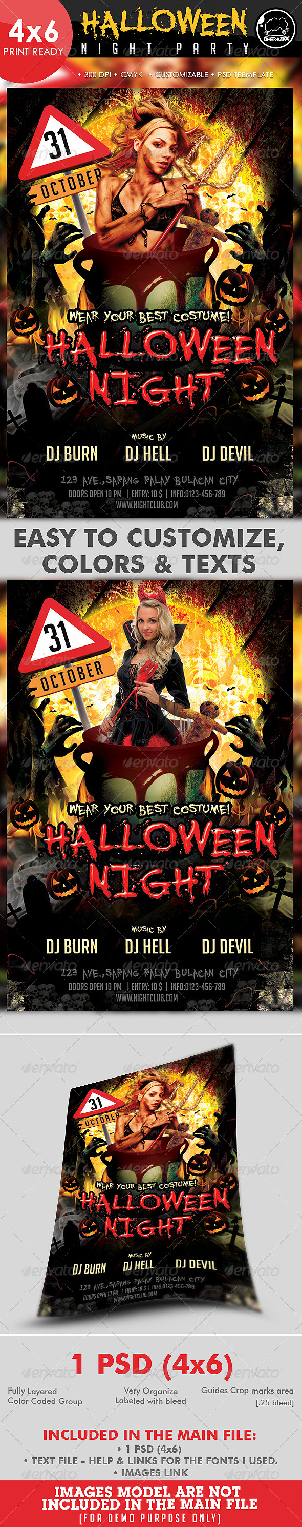 Halloween Night Party Flyer Template - Holidays Events