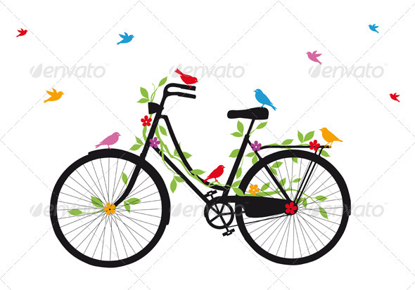 Old Bicycle With Birds, Vector - Sports/Activity Conceptual
