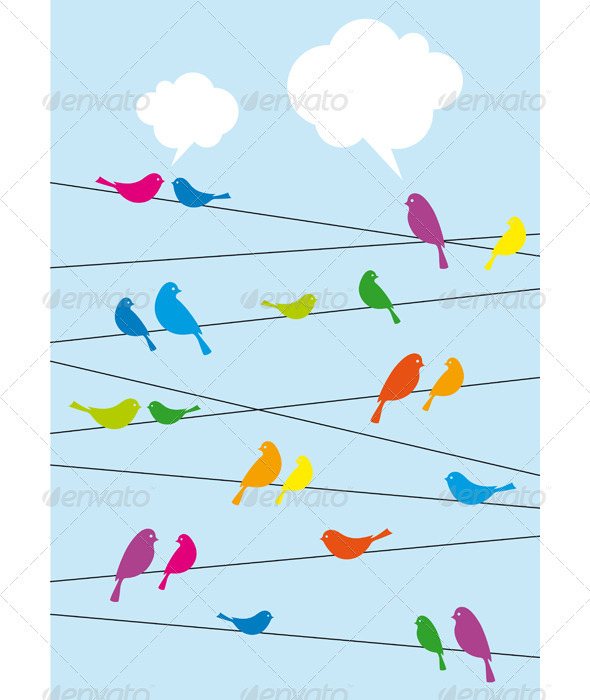 Birds Sitting On Wire, Vector Background - Animals Characters