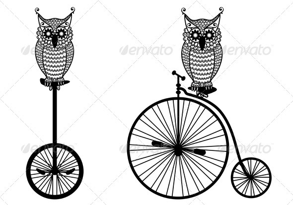 Owls With Old Bicycle, Vector  - Animals Characters