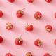 Background pattern of luscious ripe red raspberries on pink - PhotoDune Item for Sale