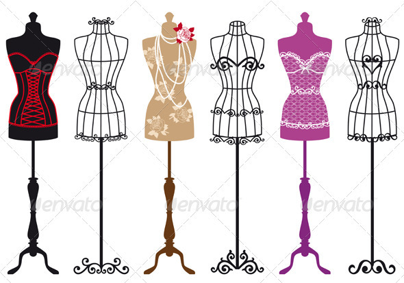 Vintage Fashion Mannequins, Vector Set - Commercial / Shopping Conceptual