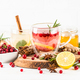 Cranberry tea and ginger tea with lemon at white table - PhotoDune Item for Sale