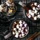 Marshmallows dipped in hot chocolate flat lay Christmas food photography - PhotoDune Item for Sale