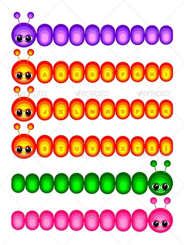 Set of funny caterpillars - Decorative Symbols Decorative