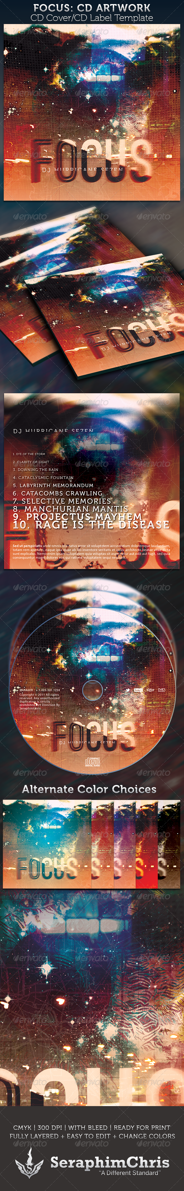 Focus: CD Cover Artwork Template - CD & DVD Artwork Print Templates