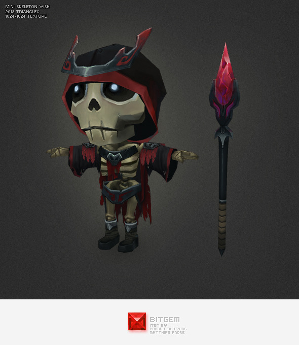 Low Poly Mini Skeleton Wish - 3DOcean Item for Sale