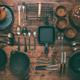 Assortment of vintage kitchen utensils on wooden table - PhotoDune Item for Sale