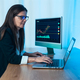 Business trader woman working on crypto currency markets with blockchain technology - PhotoDune Item for Sale