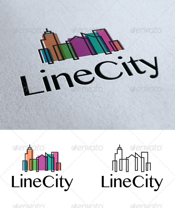 Line City - Buildings Logo Templates