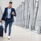 Online Check In. Handsome Arab Man Walking In Airport And Using Smartphone - PhotoDune Item for Sale
