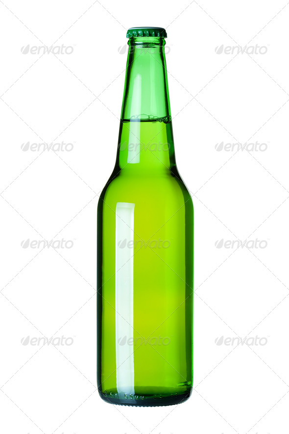 Lager beer in green bottle - Stock Photo - Images