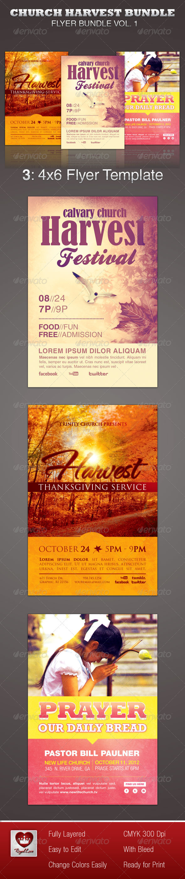 Church Harvest Flyer Template Bundle - Church Flyers