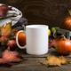 Coffee mug mockup thanksgiving with fall leaves, pumpkins - PhotoDune Item for Sale
