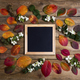Square wooden frame mockup with fall leaves - PhotoDune Item for Sale