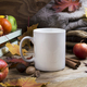 White coffee mug mockup thanksgiving with fall leaves and knitted plaid - PhotoDune Item for Sale