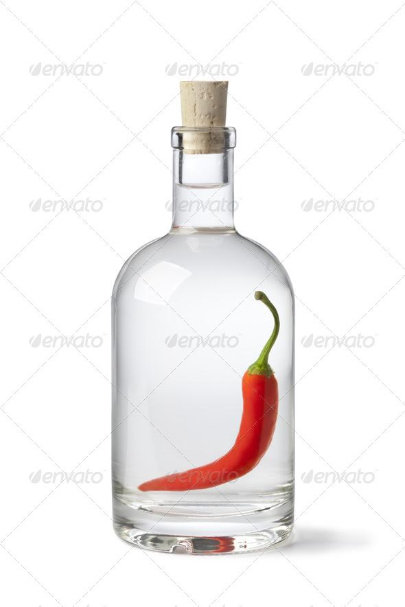 Red pepper vinegar - Stock Photo - Images