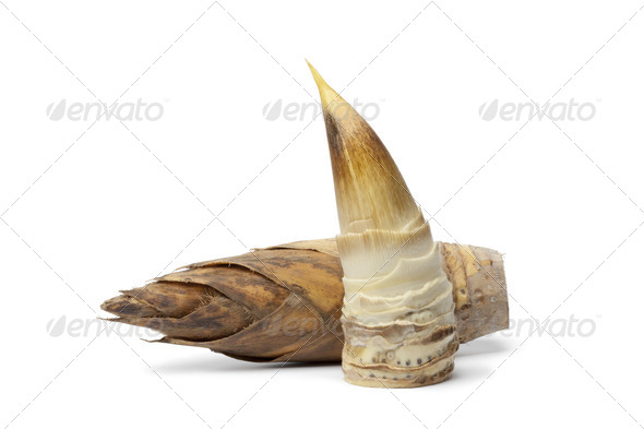 Whole and peeled bamboo shoot - Stock Photo - Images