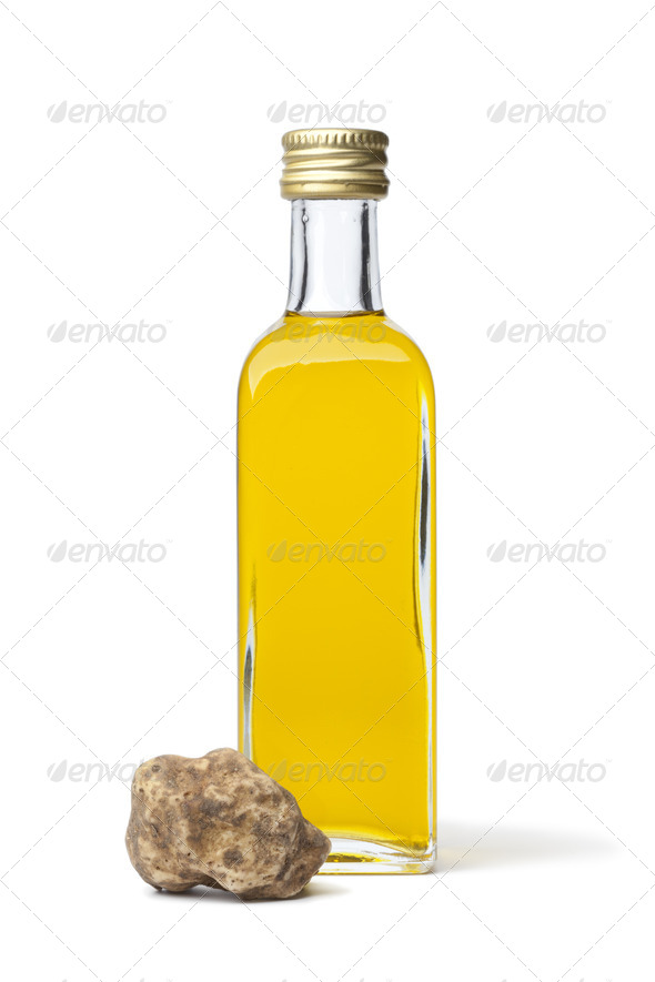 Bottle of olive oil with white truffle - Stock Photo - Images