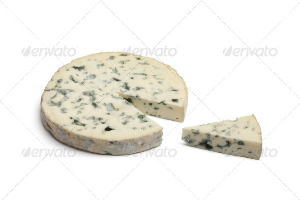 Slice of Fourme d'Ambert cheese - Stock Photo - Images