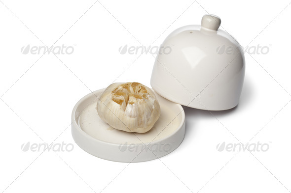 Roasted garlic bulb - Stock Photo - Images