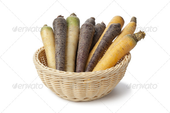 Black, white and yellow carrots - Stock Photo - Images