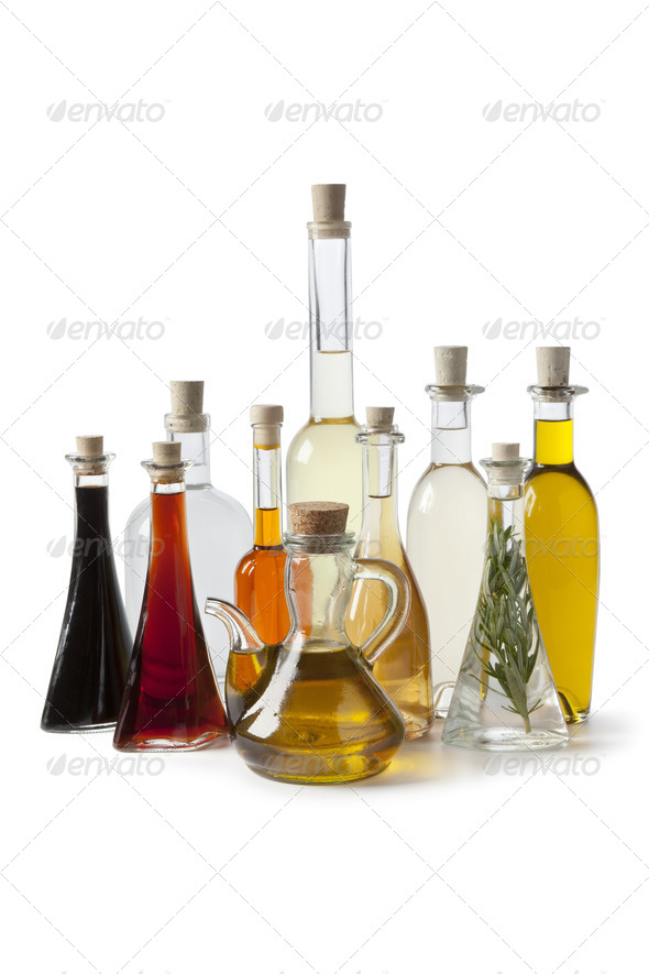 Bottles with oil and vinegar - Stock Photo - Images