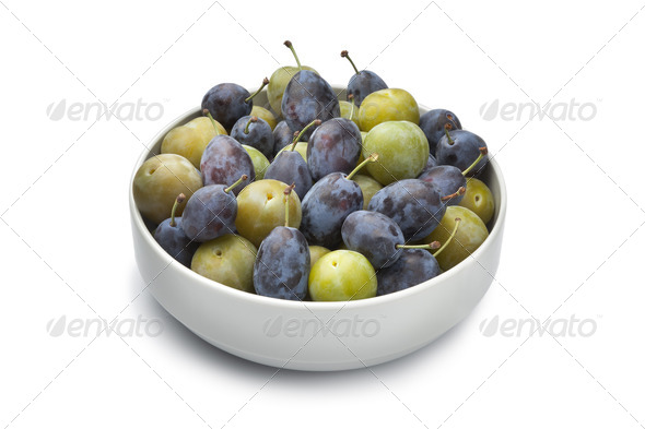 Bowl with plums - Stock Photo - Images